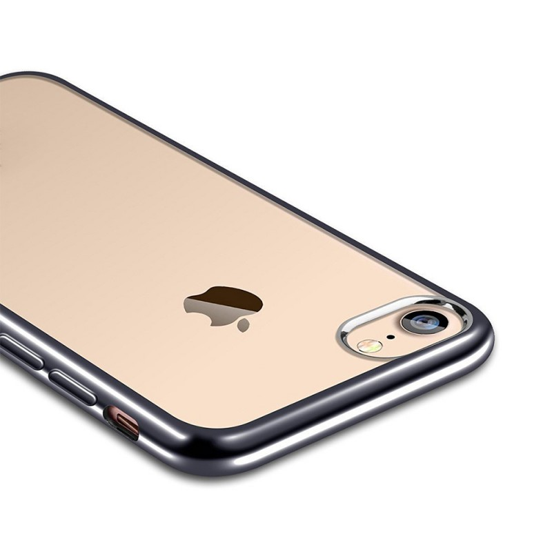 Clear Silicon Case with Metal Bumper Protection For iPhone 7