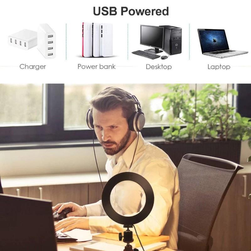 Desktop Stand with Selfie LED Ring Light