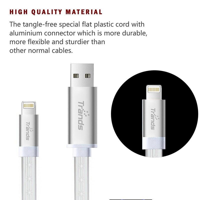 LED Flowing Lightning USB Cable 1 Meter White