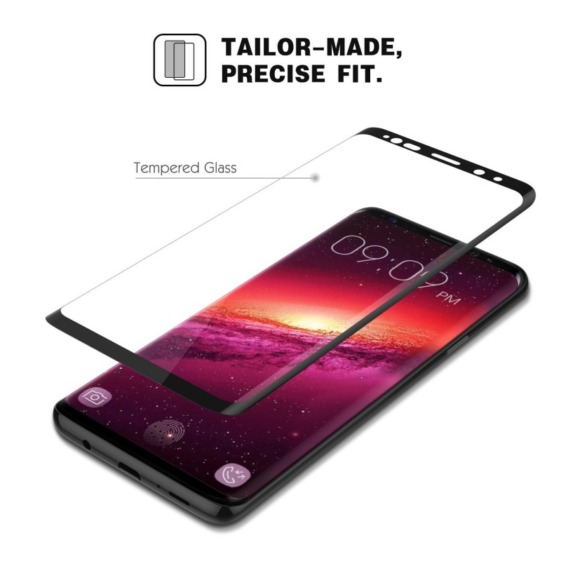 Trands Full Protection Full Transparency Tempered Glass Screen Protector for Samsung Galaxy S9