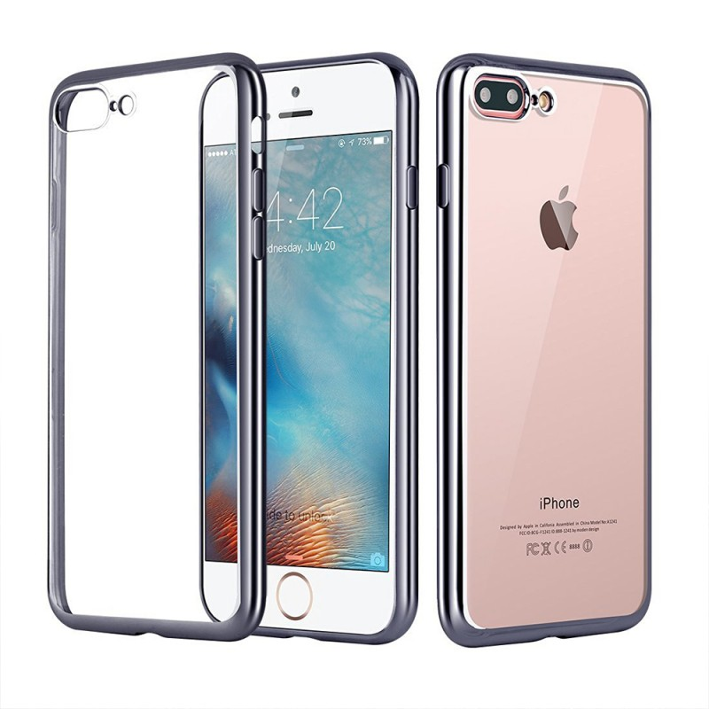 Clear Silicon Case with Metal Bumper Protection For iPhone 7 Plus