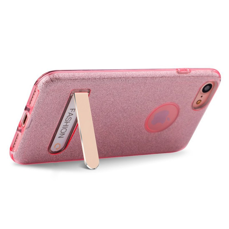 Sparkly Shinning Crystal Soft Gel Flexible TPU Case with Foldable Metal Kickstand For iphone7