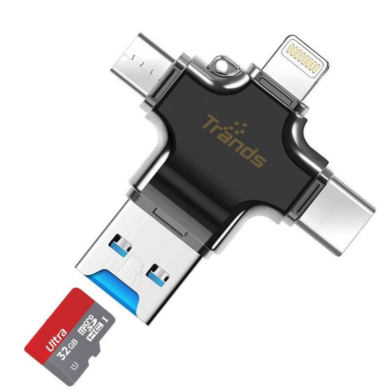 4 in 1 Micro SD TF Card Reader with Lightning 8 pin + Micro USB + Type C + USB