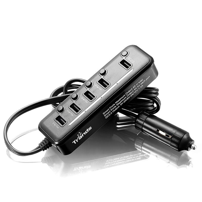 5 Port Usb Car Charger with 3 Feet Extension Cord