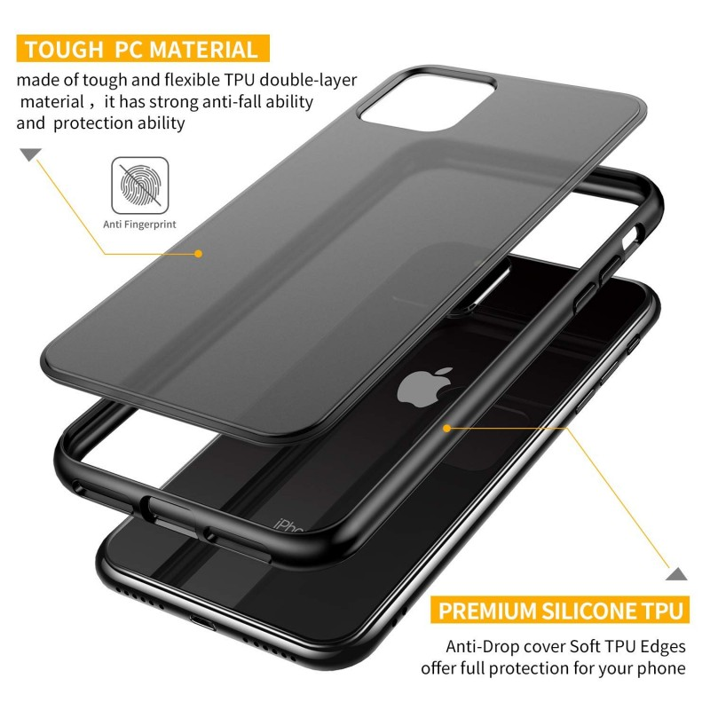 Trands Case for iPhone 11, Translucent Matte Hard PC Back Cover Protective Case for iPhone 11, 6.1 Inch 2019, Black