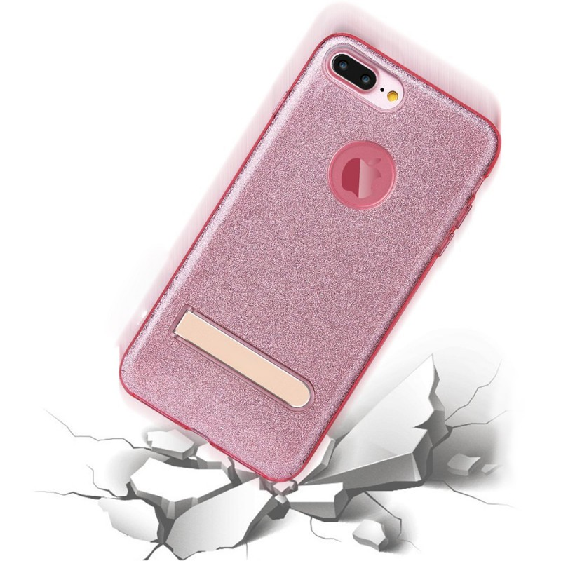 Sparkly Shinning Crystal Soft Gel Flexible TPU Case with Foldable Metal Kickstand For iphone7 Plus