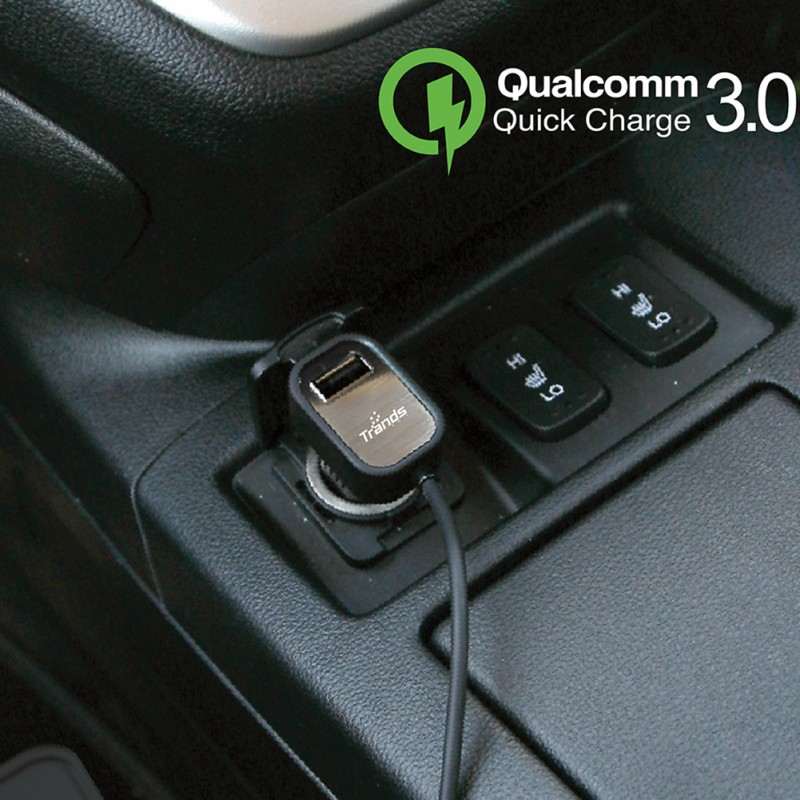 Qualcomm Quick Charge 3.0 Ultra Fast car charger With Single USB Port and Built-in Type C Cable- 1 Meter-Black
