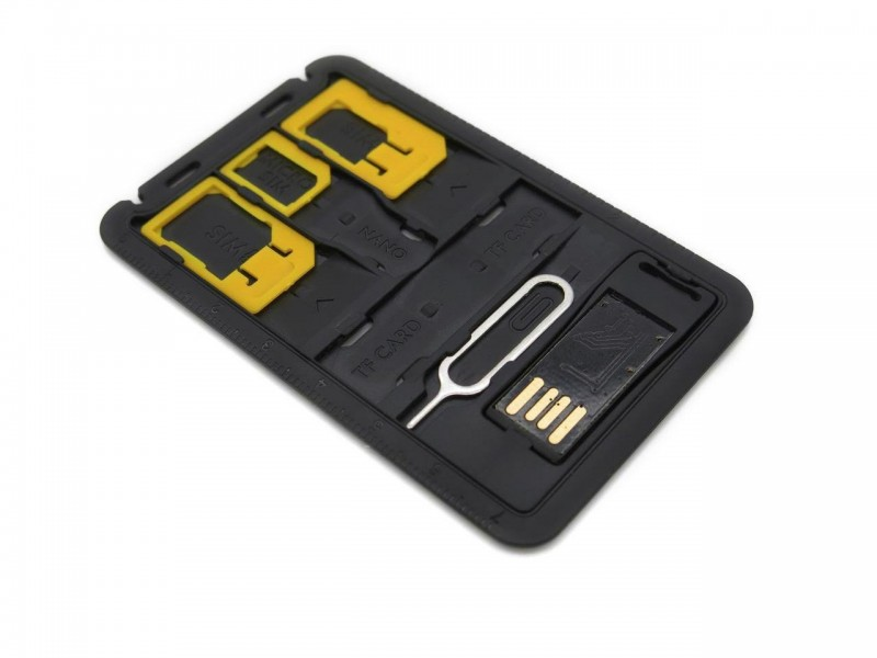 Sim Card Adapter Storage with Micro SD storage, Micro SD Card Reader, Sim Release Pin in Credit Card Size