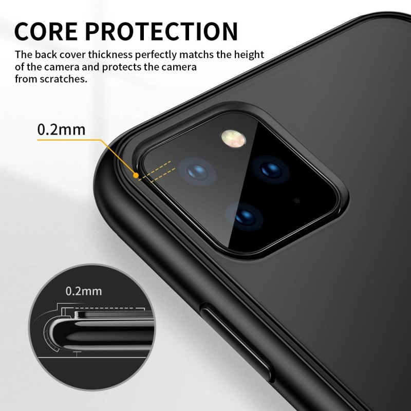 Trands Case for iPhone 11 Pro Max, Translucent Matte Hard PC Back Cover Shockproof Anti-Drop Protective Case for iPhone 11 Pro Max 6.5 Inch 2019, Black