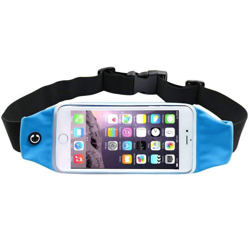 Fashion Waterproof Running Waist Belt Pouch Sport Pocket Bag with Zipper to Hold Cell Phones up to 5.9 inch Blue