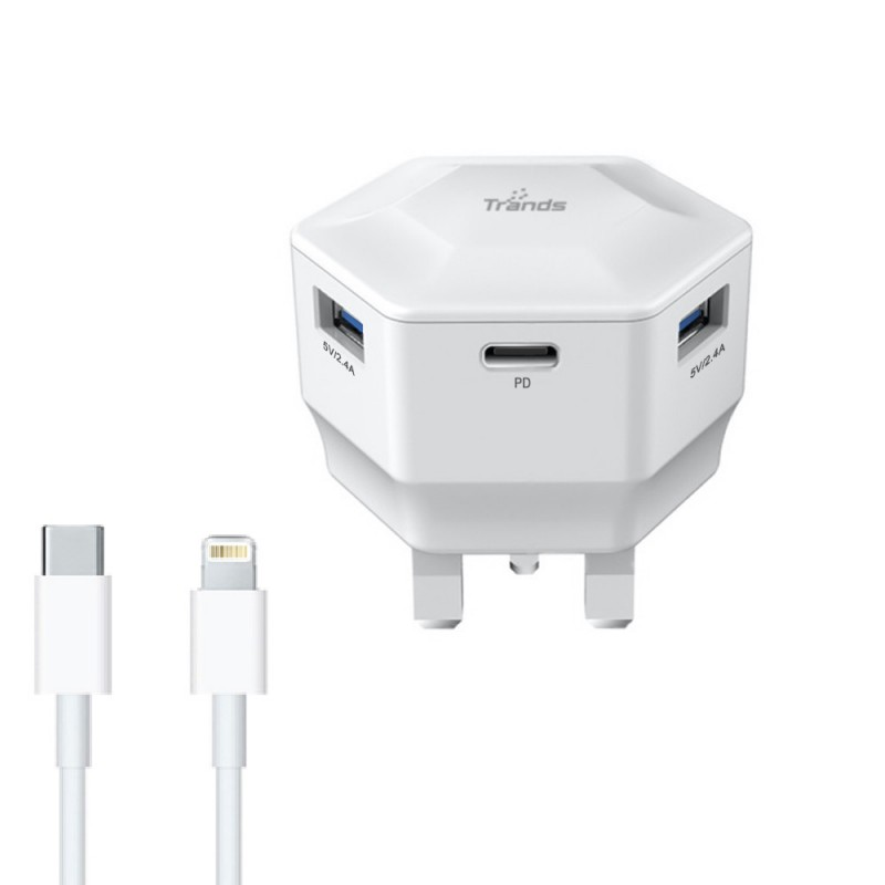 Travel Charger with Type-C and Dual USB Ports