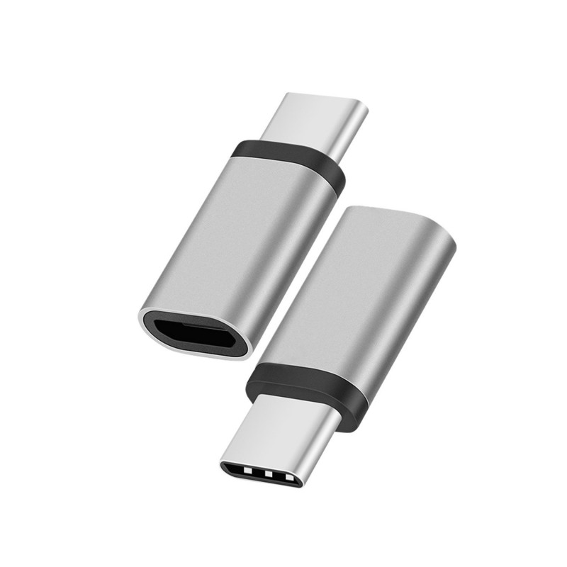 Trands Type-C Male to Micro USB Female High Speed Data Transmission & Charging OTG Adapter Silver