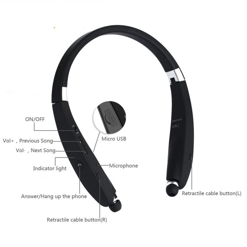 Sport Edition Retractable Bluetooth 4.1 Neckband Headset