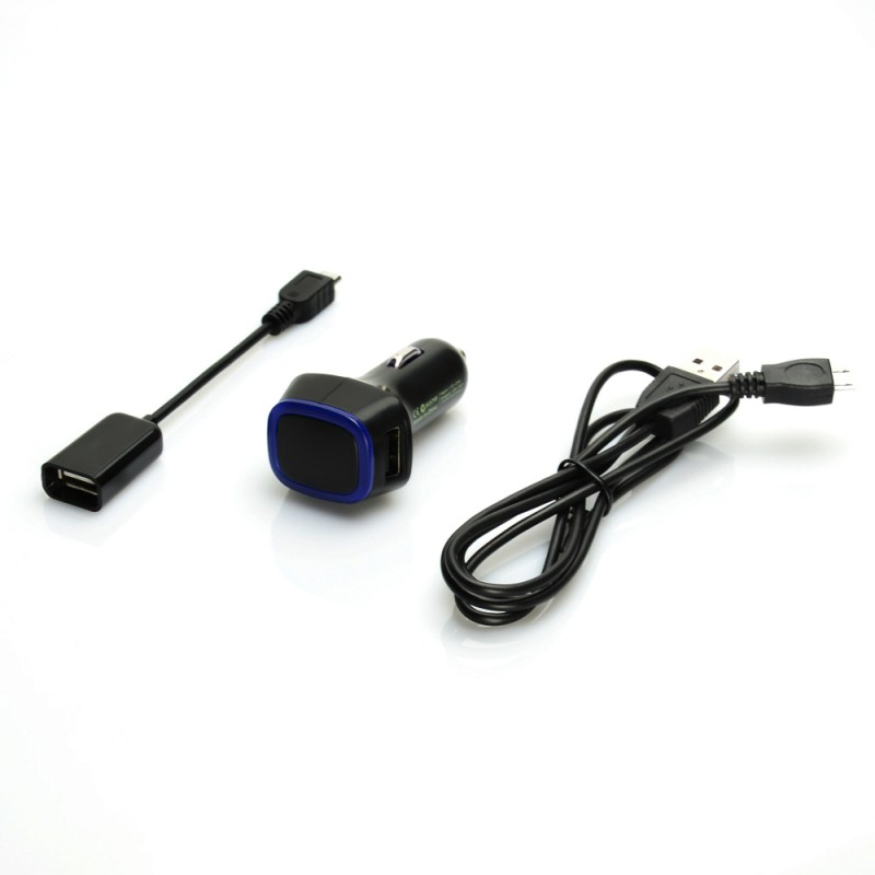 3 in 1 Dual Port Car Charger with Micro USB OTG Cable and Micro USB Charging/ Sync Cable