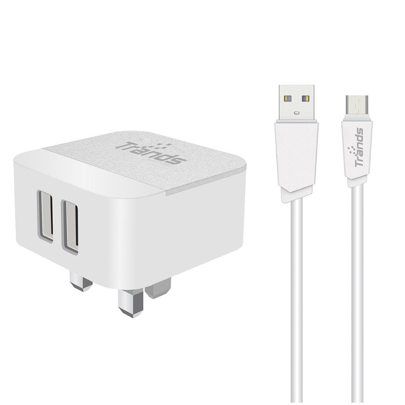 Dual USB Travel Adapter With Micro USB Cable