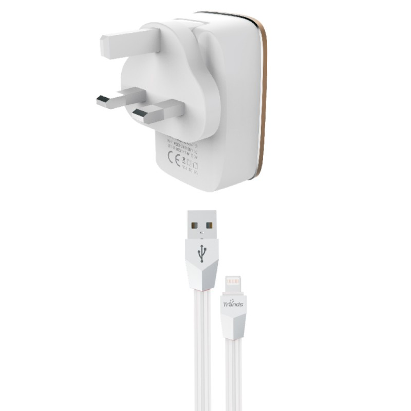 2.4A Auto-ID Dual USB Travel Charger US + UK Plug For iPhone iPad Samsung